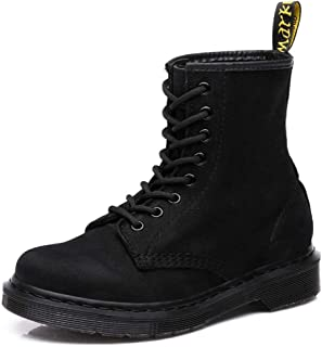 Dr. Martin unisex boots Matte leather boots wild high-top short boots couple tooling boots black lace-up bare boots thick bottom wild boots wear-resistant and non-slip (Color : Black, Size : 43)