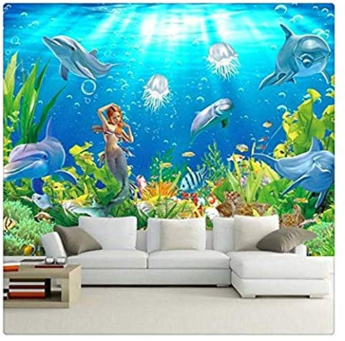 Meerjungfrau Tapete Meerjungfrau Delfine Unter Wasser Welt Wohnzimmer Sofa TV Hintergrundfoto Für 3D Schlafzimmer Wände CmTapete 3d wandbild tapeten vintage Moderne Papier-250cm×170cm