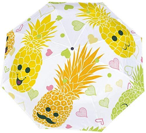 Faltbarer Regenschirm mit fröhlichen Ananasgesichtern, Emoji-Regenschirm zum Öffnen und Schließen, winddicht, leicht, kompakt, für den Außenbereich