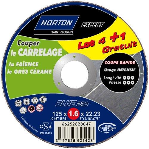 Norton slijpschijven voor tegels, 125 x 1,6 x 22,2 mm, 5 stuks