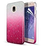 Case for Samsung Galaxy J7 2018,J7 Refine,J7 Star,J7 Aura,J7 Crown,J7 V J7V Phone Case W Screen Protector, [Ultar-Thin Slim] Glitter/Bling/Sparkly/Shiny Hybrid Protective Case,Red