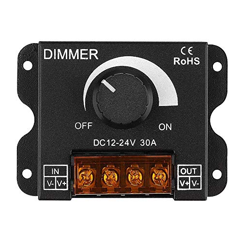 Regulador de luz LED, DC 12 V-24 V 30 A PWM regulador de intensidad para regulador de intensidad de la perilla de ajuste de brillo encendido/apagado con carcasa de aluminio, un canal para 5050 3538 5630 cinta de luz de un solo color