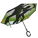 Car Reverse Umbrella,Silhouette Illustration Of Couple Dancing In Disco Love,With C-Shaped Handle