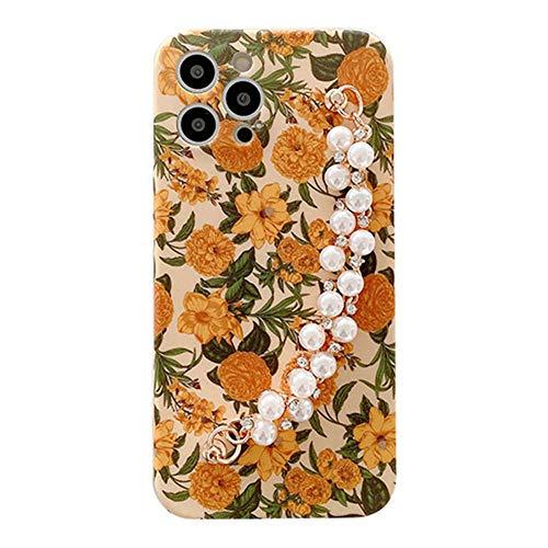 SGVAHY Funda para iPhone XR, diseño de pintura al óleo con cadena de perlas de ajuste delgado de silicona suave a prueba de golpes (crisantemo, iPhone XR)