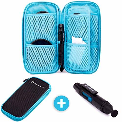 Große Filtertasche mit 9 Fächern inkl. Lens-Pen für Filter bis 82mm, Tasche für Objektiv...