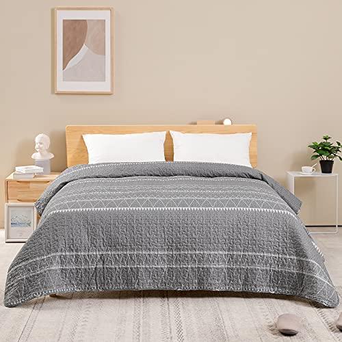 ATsense Colcha de 200 x 220 cm, color gris, estilo bohemio, acolchada, la colcha es de microfibra cosida, para cama doble, cómoda, suave, lisa y resistente, adecuada para la cama (bohemia)