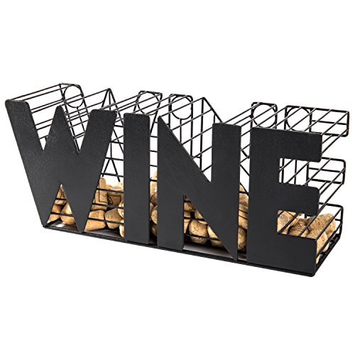 MyGift 14-Inch Decorative Black Metal Mesh Wine Cork Holder Basket
