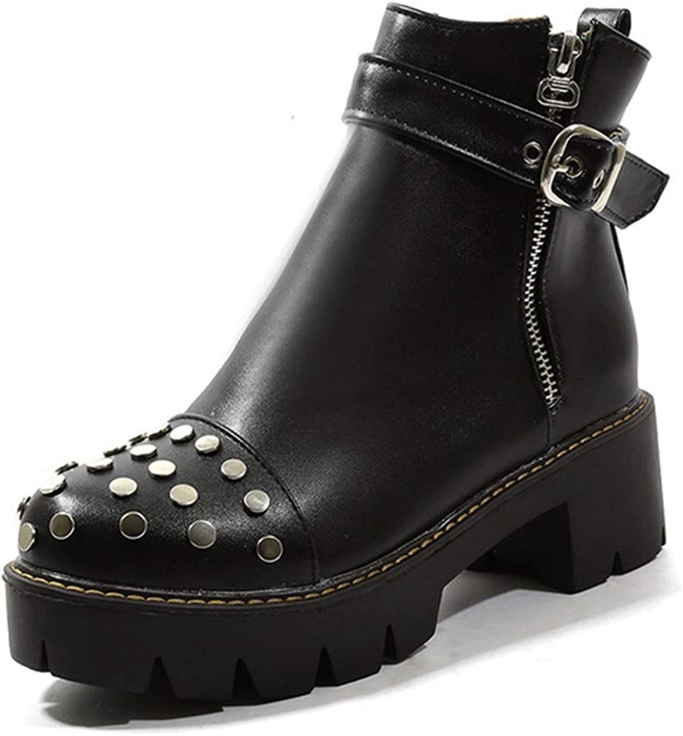 GIY Women's Chunky Platform Motorcycle Ankle Boots Buckle Rivets Round Toe Zip Bootie Mid Heel Short Boots
