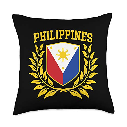 Proud Filipino American - Pinoy Pride Filipino Pride-Shirt with Philippine Flag Crest Throw Pillow, 18x18, Multicolor