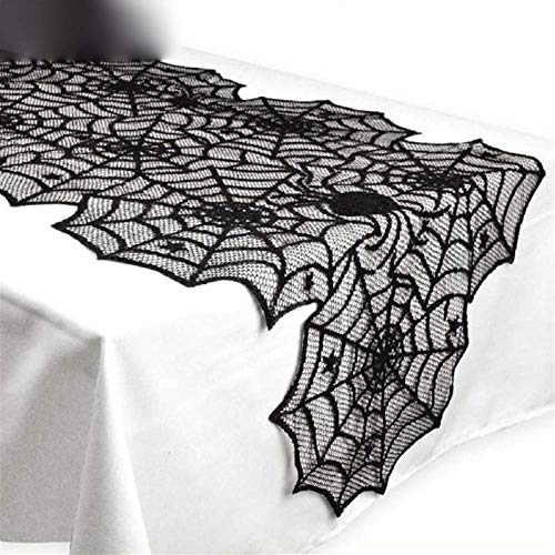 Halloween Halloween Dekorationen, 18X72inch Halloween-Spinnen-Netz-Halloween-Dekor, Black Lace Tischdecke Scary Halloween-Dekoration for Halloween-Party-Außendekoration Zubehör WTZ012
