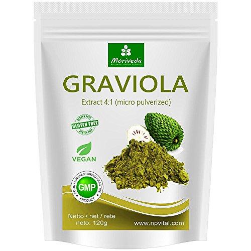 MoriVeda® - Graviola Pulver 120g, Frucht- und Pflanzenextrakt 4:1, Qualitätsprodukt – Sauersack (1x120g)