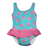 i play. Baby Girls 1pc Skirty Swimsuit with Built-in Reusable Swim Diaper, Aqua