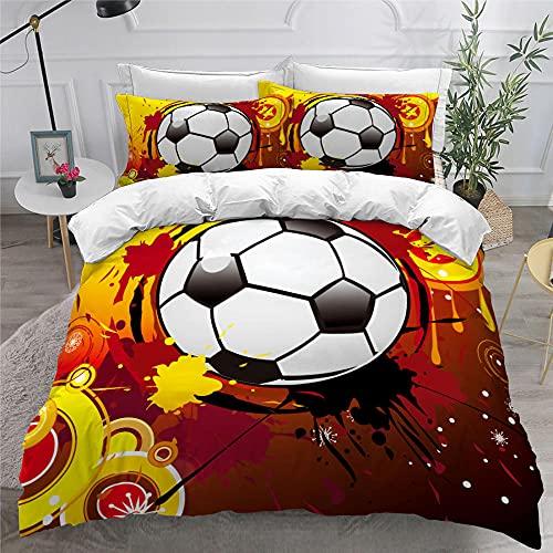 Nordica Cama 135, Graffiti Fútbol, Juego de Fundas de edredón 220x230 cm, de fácil Cuidado, 100% Microfibra, Suave y cómoda, con 2 Fundas de Almohada 50x80 cm