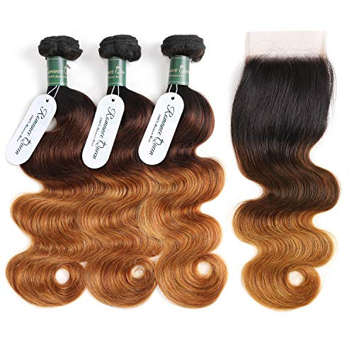 Brazilian Human Hair Ombre Bundles With Closure Body Wave Hair 3 Bundles With Closure 3 Tone T1B/4/30 Weave Hair Human Bundles (18 20 22 + 16, T1B/4/30)
