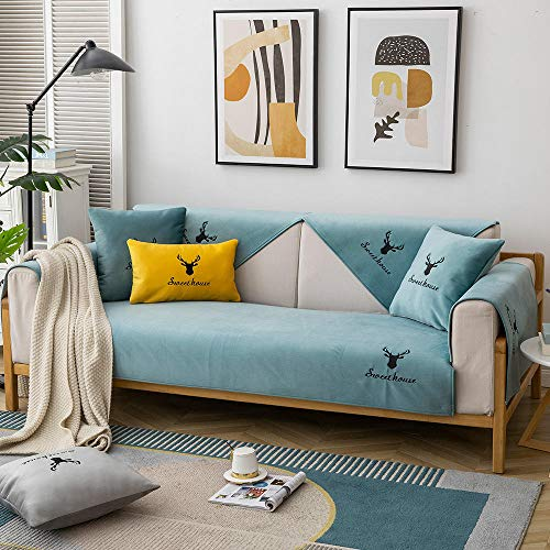 Sofá en Forma de L Fundas Sofás Cubiertas Delgadas de cojín de sofá de Felpa,Tirar sofá Bordado,Cubierta de Protector de sofá Antideslizante nórdico Moderno-Verde Claro_90 * 70 cm