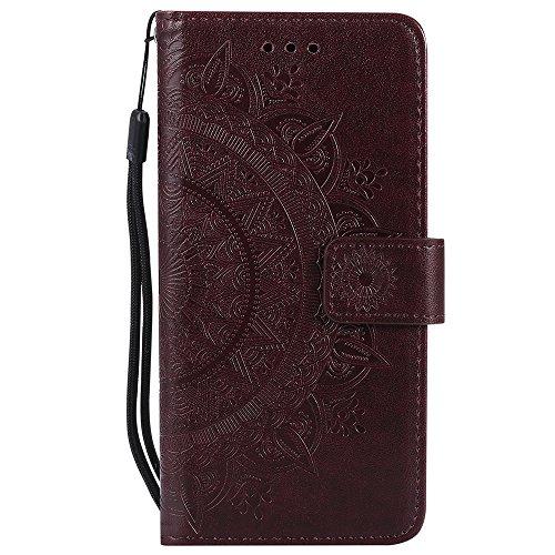 Capa para S8, capa para Galaxy S8 [caneta stylus 2 em 1 grátis + alça de pulso], capa carteira retrô de couro PU flor mandala, capa para telefone à prova de choque para Samsung Galaxy S8, marrom