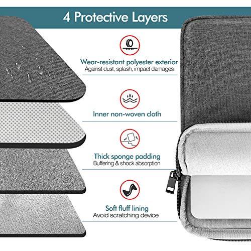 MoKo Sleeve Tasche Kompatibel mit MacBook Air Retina 13.3 2018, MacBook Air 13.3 2019/2020, iPad Pro 12.9 2018/2020, Polyesterfaser Laptophülle mit Reißverschluss und 2 Tasche Tablet Hülle, Dunkelgrau