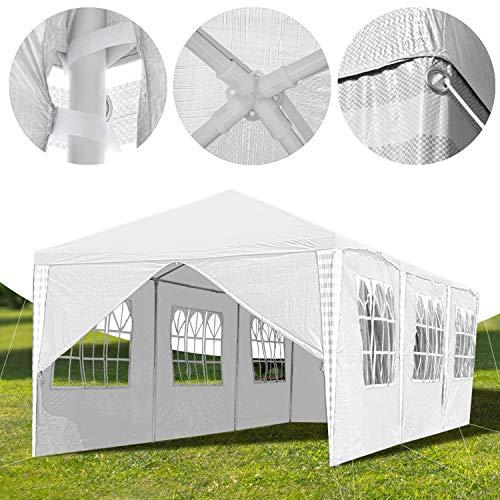 Hengda 3x9m Pavillon UV-Schutz weiß Partyzelt Material PE-Plane Gartenzelt Hochwertiges mit 8 Seitenteilen für Hochzeit Party Garten Markt - 2