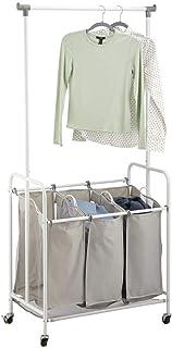 mDesign chariot à linge à 3 compartiments – panière à linge avec tringle à vêtement en polyester et métal – portant vêteme...