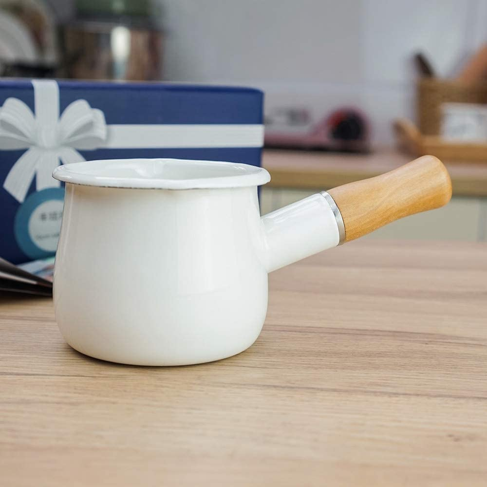 Cazo antiadherente pequeño para leche, té, café, hervir huevos, preparar la papilla del bebé, diseño esmaltado con mango de madera, fácil de limpiar, de Jmahm. blanco
