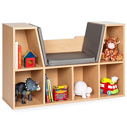 Best Choice Products Multi-Purpose 6-Cubby Kids Bedroom Storage Organizer Bookcase w/Cushioned Reading Nook - Brown