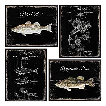 Vintage Bass Fishing Patent Print Set - Rustic Freshwater Lake or River Fish Wood Sign Style Posters - Reel Lure Wall Art Home Decor Room Decoration Picture Photos - Gift for Fisherman Angler