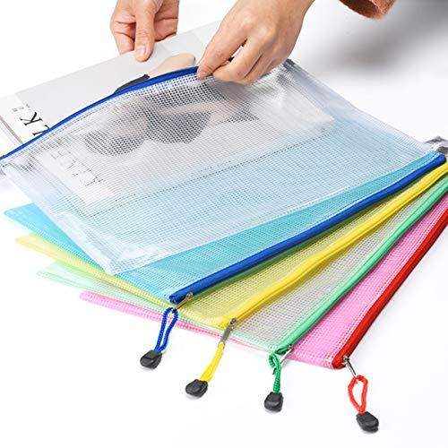 Mesh Zipper Pouch Waterproof Double Plastic Document Organizer Bag Zip File Folders A4 Size for Office School Supplies,Business Receipts, Magazine, Toys, Cosmetics,Travel Accessories 5 Colors,25 Pcs