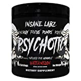 Insane Labz Psychotic Black Edition Mid Stimulant Pre Workout Powder, Energy Focus Pumps, Loaded with Creatine Beta Alanine Taurine Fueled by AMPiberry, 35 Servings Watermelon