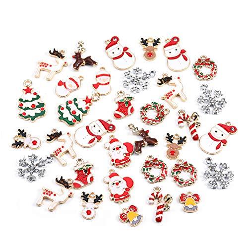 Sauvoo Encantos de Navidad, 34 piezas Estilo mixto Encantos chapados en oro Encantos artesanales de Navidad...