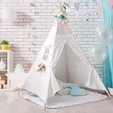 PB PEGGYBUY Tienda India Tipi, Tienda Campaña Infantil para niños/ Casa de Juego (Blanco)