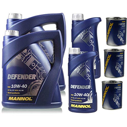 Aceite de motor Mannol Defender 10W-40, 12 l, 3 x Mannol Motor Flush Additiv