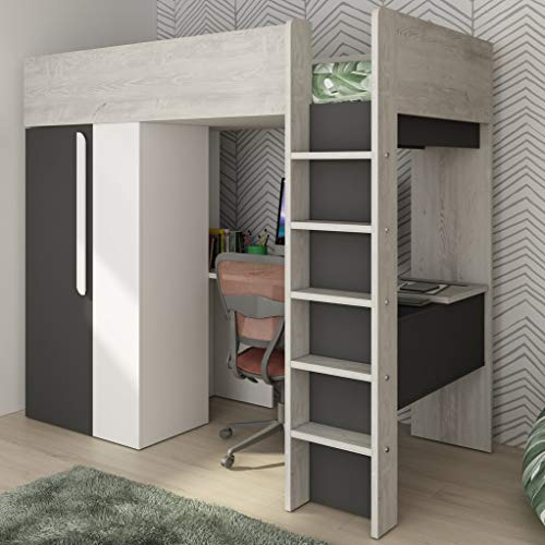Trasman of Spain Mont Blanc High Bed with Built in Wardrobe & Desk