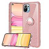 Funda para Xiaomi Mi 11, Glitter Brillante Diamante Carcasa Soporte Magnético de 360 Grados Anillo Giratorio Slim Fit Suave Silicona Gel TPU Anti-Choques y Anti- Arañazos Protectora Carcasa - Oro Rosa