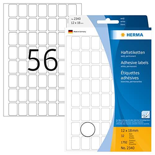 HERMA 2340 Vielzweck-Etiketten, 12 x 18 mm, weiss, Grosspackung