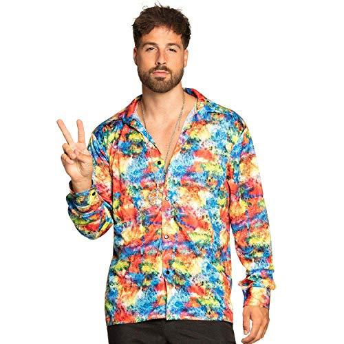 Boland 44546 - Shirt Flashy, mehrfarbiges Muster, Hemd für Herren, Discoshirt, Karneval, Fasching, Fastnacht, Halloween, Mottoparty, 70er Jahre
