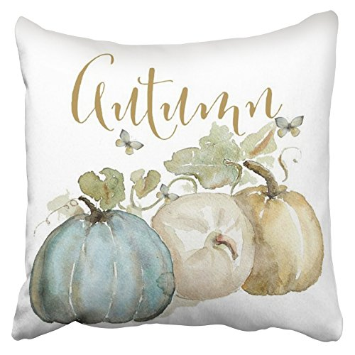Accrocn Pillowcases Decorative Autumn Fall Blue Gray Pumpkin Watercolor Throw Pillow Covers Case Cases Cover Cushion Sofa Size 20x20 Inches Two Side