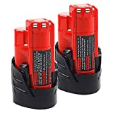2Pack AMICROSS 12V 3.0Ah Battery Compatible with Milwaukee M12 XC Electric Tools MLW2553-20, 2420-20, 2407-20, 2462-20, 48-59-2401, 2415-20, 2426-20, MLW2504-20, 2445-20, 49-24-0146, 2351-20, 2520-20