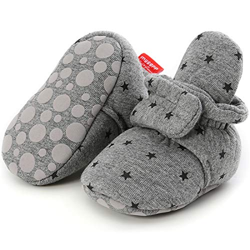 CENCIRILY Newborn Baby Boys Girls Cozy Fleece Booties Soft Non Slip Grips Sole Winter Socks Crib Shoes for Infant Toddler First Walkers, A08 Navy Grey+star, 12-18 Months Toddler