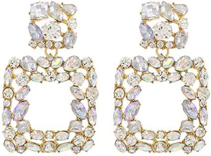 Rhinestone Square Dangle Earrings Sparkly Crystal Geometric Drop Statement Earrings for Women product image