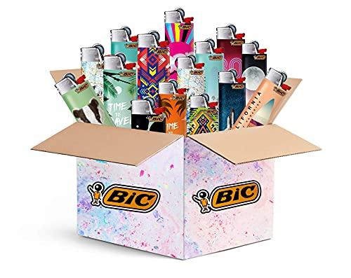 BIC Maxi Feuerzeuge 10 Stück - Top Motive - 10er Mix-Paket - BIC J26 mit Reibrad / Feuerstein-Zündung