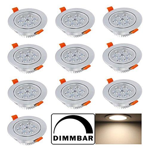 Hengda® LED Einbauleuchte Spot Decken Einbaustrahler Set Möbelleuchte Lampe für Bad Wohnzimmer Schlafzimmer 230v Gute Qualität (10pcs 7W Warmweiß Dimmbar)