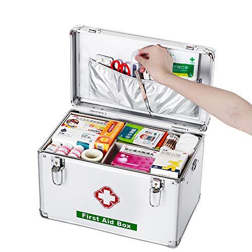 Saturey Ablageboxen Tragbare Erste-Hilfe-Box Alu Medizinkoffer Medizinbox Hausapotheke Multifunktions Sortierkasten mit Griff Erste Hilfe Box Aufbewarhungskiste Medikamente Arzneimittelbox,53cm21inch