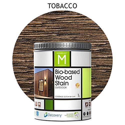 Barniz Madera Exterior | Bio-based Wood Stain | 1 L | Barniz ecológico para todo tipo de madera | Lasur madera exterior | color Tobacco | Flexible y transpirable, resistente al agua y al moho