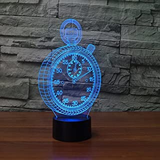 Creative 3D Alarm Clock Night Light 7 Colors Changing USB Power Touch Switch Decor Lamp Optical Illusion Lamp LED Table Desk Lamp Children Kids Brithday Christmas Gift