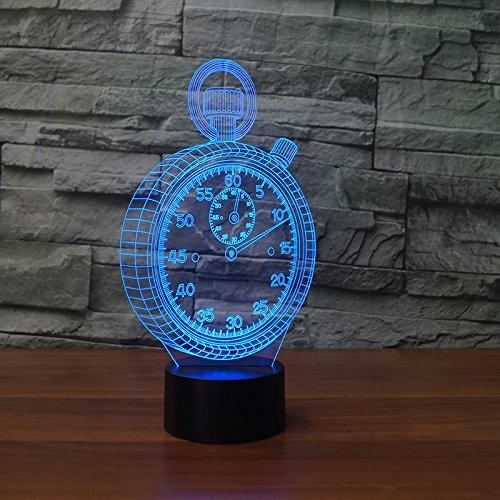 Preisvergleich Produktbild Optical Illusions 3D Wecker Nacht Licht LED Lampen Tolle 7 Farbwechsel Berühren Tabelle Schreibtisch USB-Kabel für Kinder Schlafzimmer Geburtstagsgeschenke Geschenk