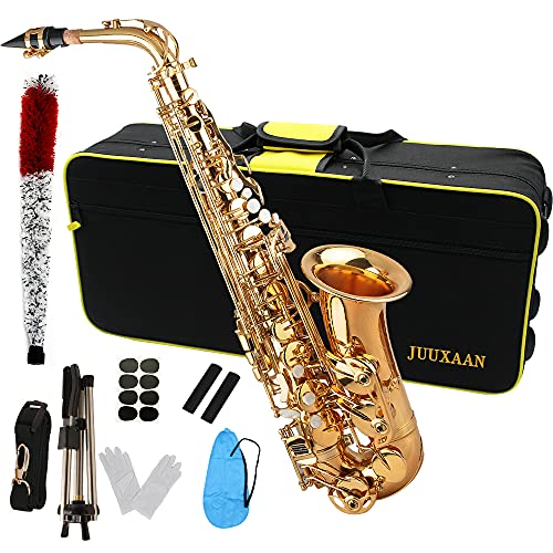 JUUXAAN Alto Saxophone Eb beginner Saxophone includes brush canvas suitcase glove whistle piece cork plaster wipe cloth neck strap and other...