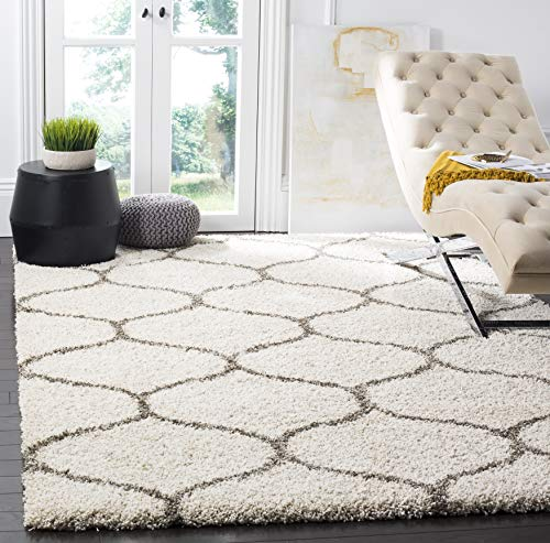 Safavieh Hudson Shag Collection SGH280A Ivory and Grey Moroccan Ogee Plush Area Rug (3' x 5')