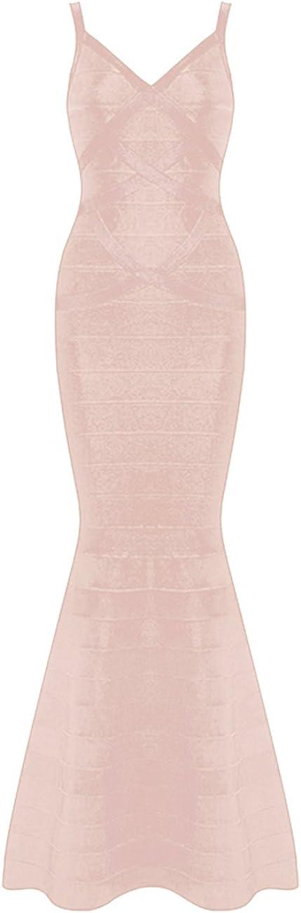 Whoinshop Women's V-Neck Backless Fishtail Bandage Long Evening Formal Maxi Dress …