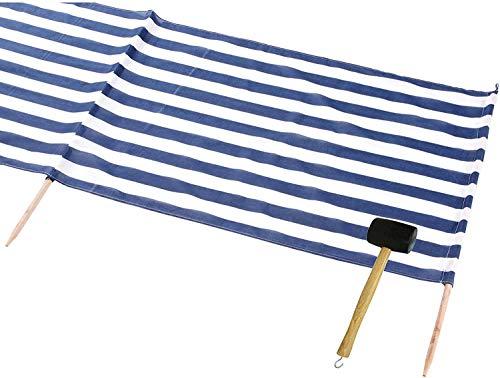 Idena Baumwoll Windschutz incl. 5 Holzstäbe, 5 m x 0,80 m | Limitierte Auflage Blau Weiß inklusive Gummihammer