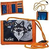 alles-meine.de GmbH Geldbörse / Brustbeutel - Wolf - Tiere Hund Husky - inkl. Name - mit Sichtfenster - für Buskarte + Kordel zum Umhängen - Geldbeutel & Portemonnaie für Kinder ..